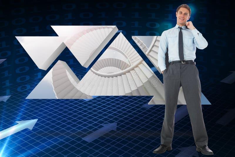 Sammansatt bild av att le affärsmannen som rymmer hans omslag arkivfoton