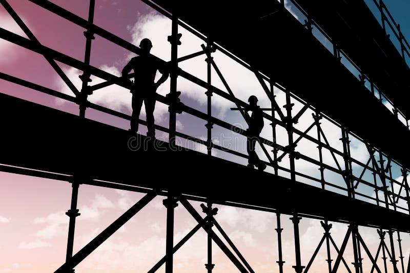 Sammansatt bild av att le arbetaren som bär träplankor 3d royaltyfri foto
