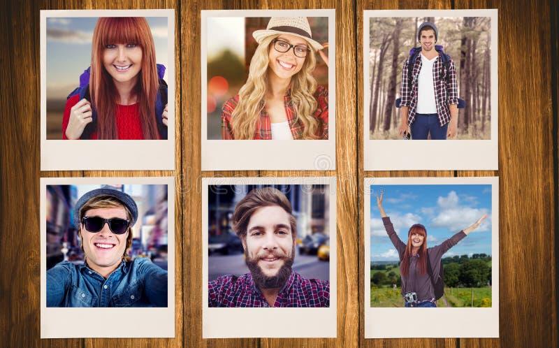 Sammansatt bild av att le hipsterkvinnan med en lopppåse som tar selfie royaltyfri fotografi