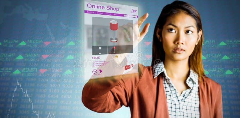 Sammansatt bild av att peka för affärskvinna arkivfoto