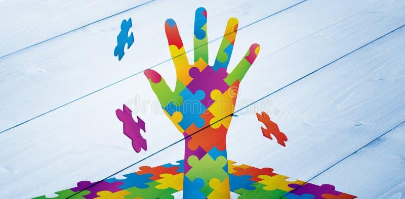 Sammansatt bild av autismmedvetenhethanden vektor illustrationer