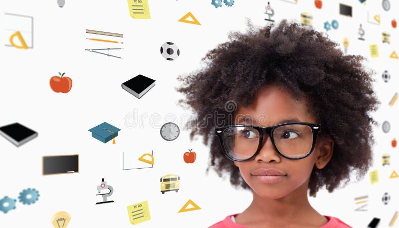 Sammansatt bild av bärande exponeringsglas för gullig elev royaltyfri bild