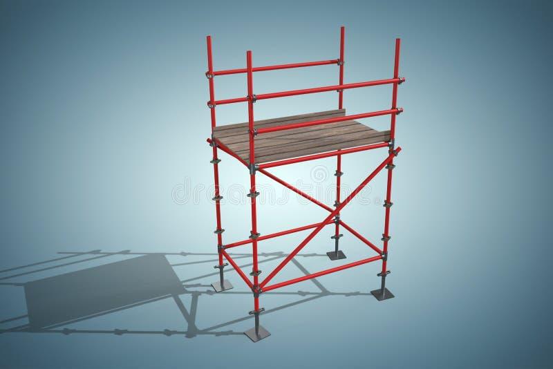 Sammansatt bild av bilden 3d av den röda material till byggnadsställningstrukturen stock illustrationer