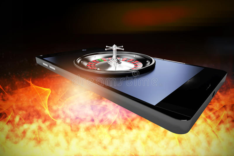 Sammansatt bild av bilden 3d av mobiltelefonen med rouletthjulet royaltyfri illustrationer