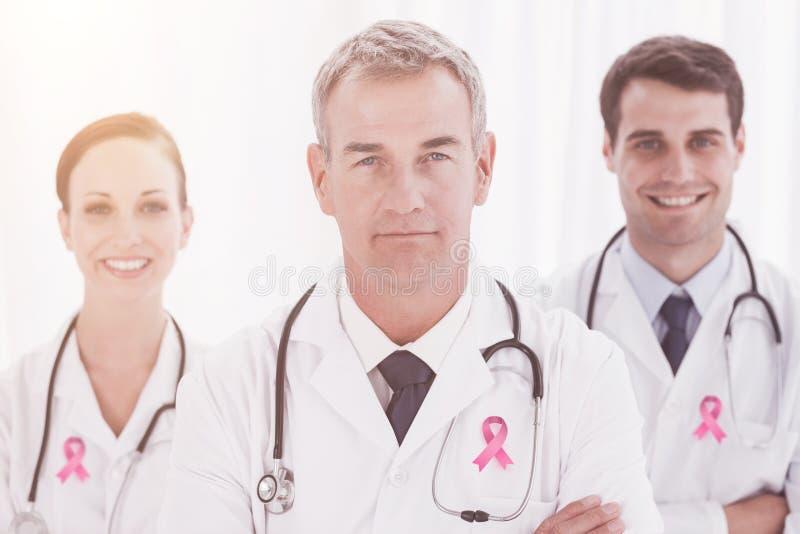 Sammansatt bild av bröstcancermedvetenhetbandet arkivbilder