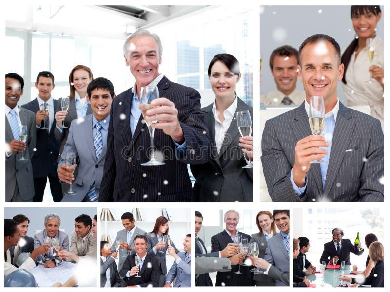 Sammansatt bild av collage av affärsfolk som firar framgång royaltyfri fotografi