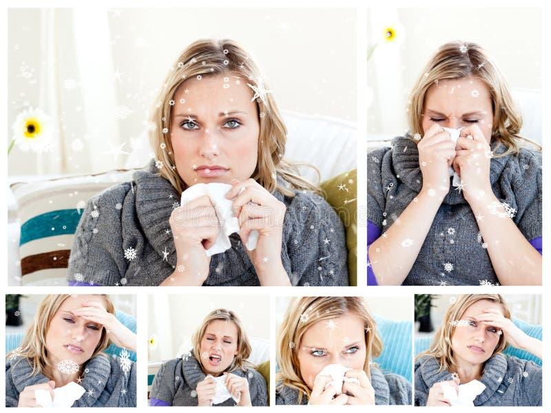 Sammansatt bild av collage av en förkyld kvinna vektor illustrationer