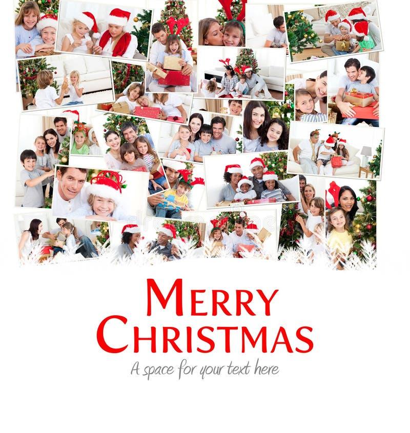 Sammansatt bild av collage av familjer som firar jul stock illustrationer