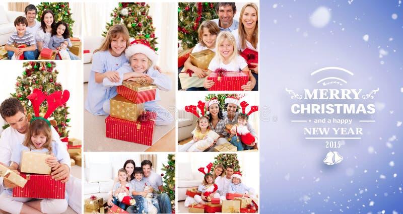 Sammansatt bild av collage av familjer som firar jul tillsammans hemma royaltyfria bilder