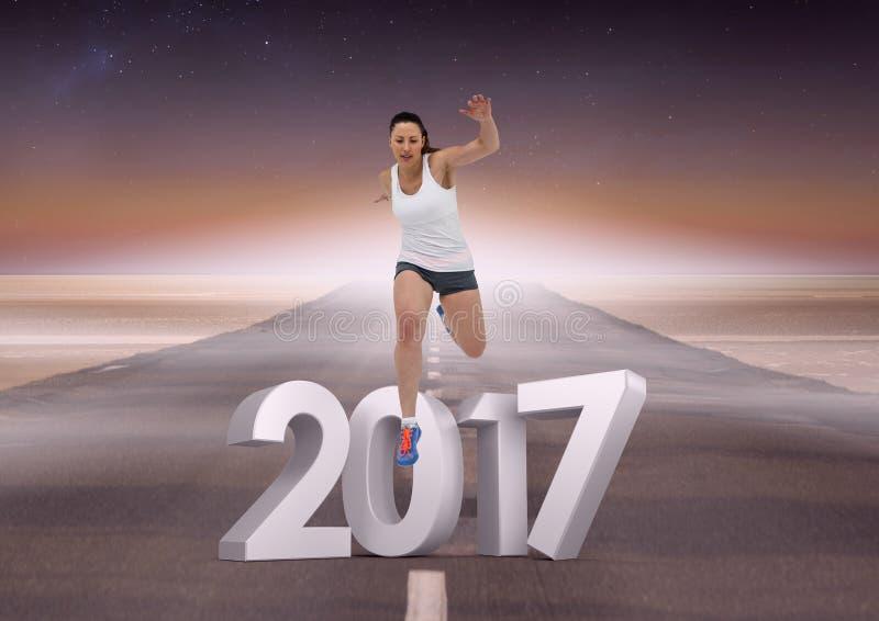 Sammansatt bild av 3D 2017 med sportflickaspring på vägen royaltyfri fotografi