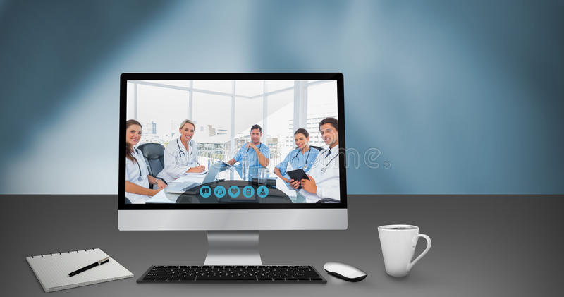 Sammansatt bild av datoren vid boken och koppen royaltyfri illustrationer