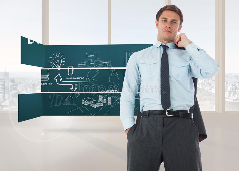 Sammansatt bild av den allvarliga affärsmannen som rymmer hans omslag arkivbild