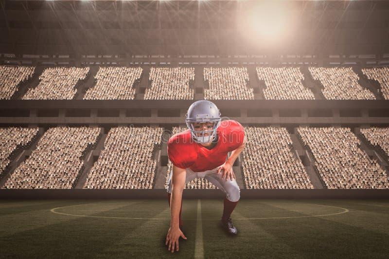 Sammansatt bild av den amerikanska fotbollsspelaren som tar position, medan spela med 3d royaltyfri fotografi