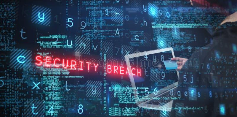 Sammansatt bild av den bakre sikten av en hacker som använder bärbara datorn och kreditkorten arkivbilder