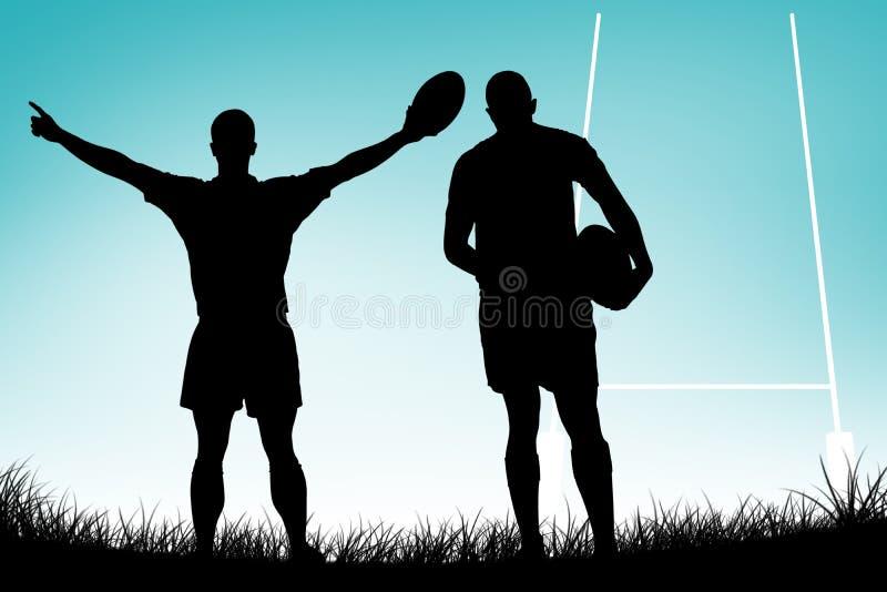 Sammansatt bild av den bakre sikten av rugbyspelarespring med bollen vektor illustrationer