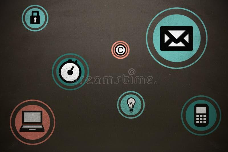 Sammansatt bild av den blåa och orange symbolen stock illustrationer