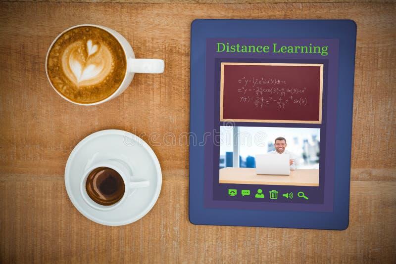 Sammansatt bild av den digitala bilden av e-lärande manöverenheten vektor illustrationer