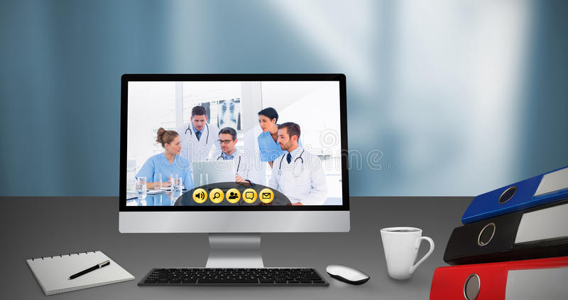 Sammansatt bild av den digitala frambragda bilden av datoren med mappar på skrivbordet royaltyfri illustrationer