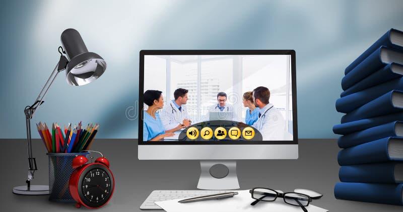 Sammansatt bild av den digitala sammansatta bilden av datoren med mappar på skrivbordet royaltyfri illustrationer