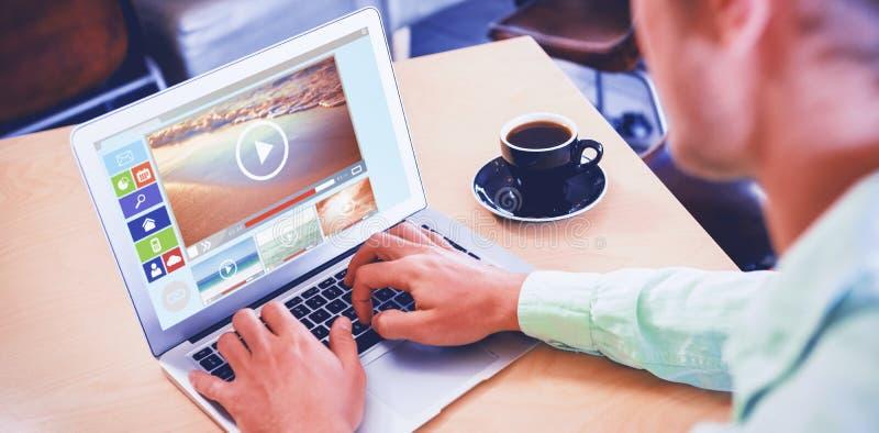 Sammansatt bild av den digitalt sammansatta bilden av olika video och datorsymboler arkivbild