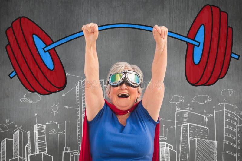 Sammansatt bild av den höga kvinnan som låtsar för att vara en superhero stock illustrationer