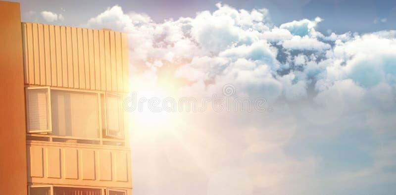 Sammansatt bild av den idylliska sikten av moln mot himmel arkivfoton