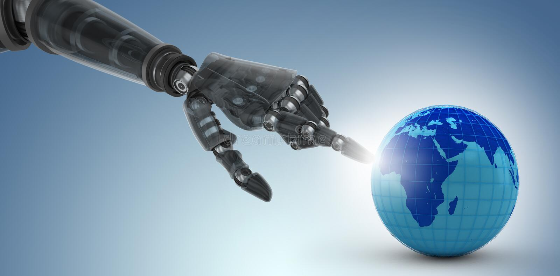 Sammansatt bild av den kantjusterade bilden av den svarta handen av att peka för robot vektor illustrationer
