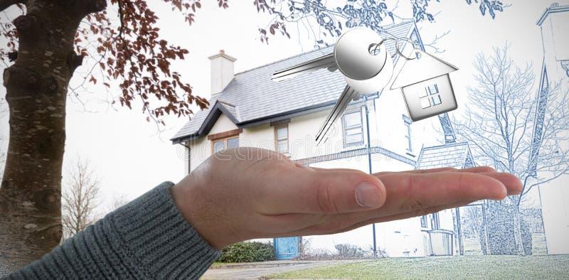 Sammansatt bild av den kantjusterade handen av manvisninghanden fotografering för bildbyråer