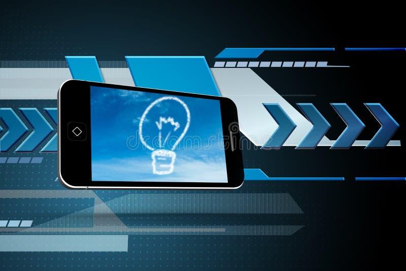 Sammansatt bild av den ljusa kulan för moln på smartphoneskärmen vektor illustrationer