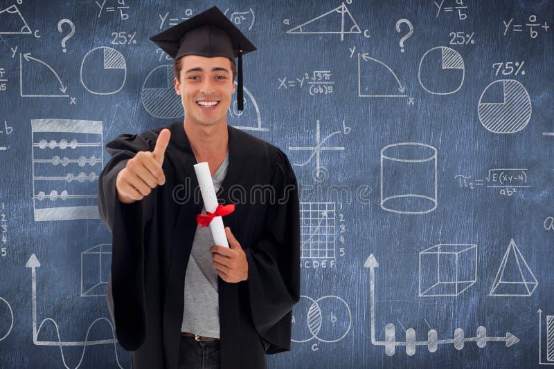 Sammansatt bild av den lyckliga tonåriga grabben som firar avläggande av examen arkivbild