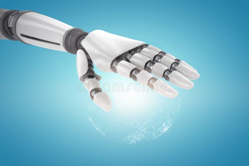 Sammansatt bild av den robotic handen över vit bakgrund stock illustrationer
