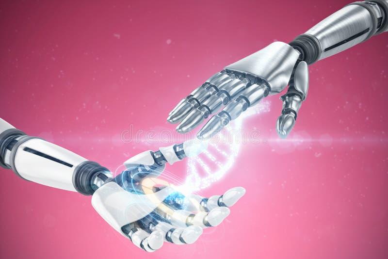 Sammansatt bild av den robotic handen för silvermetall royaltyfri bild