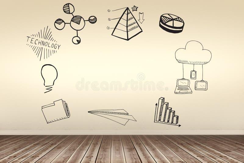 Sammansatt bild av den sammansatta bilden av datorsymboler på vit bakgrund stock illustrationer