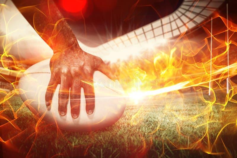Sammansatt bild av den sammansatta bilden av närbilden av bollen 3d för sportspelareinnehav stock illustrationer