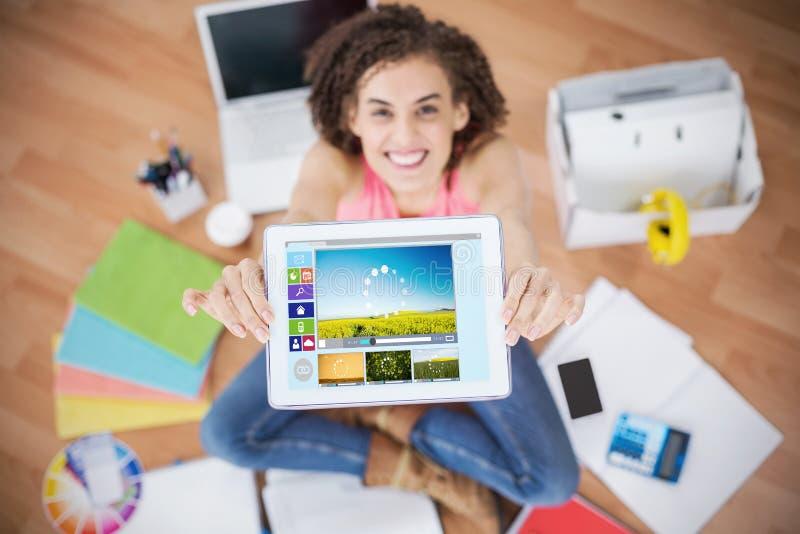 Sammansatt bild av den sammansatta bilden av olika video- och datorsymboler royaltyfria foton