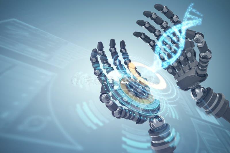 Sammansatt bild av den sammansatta bilden av robotic händer mot vit bakgrund 3d royaltyfri illustrationer