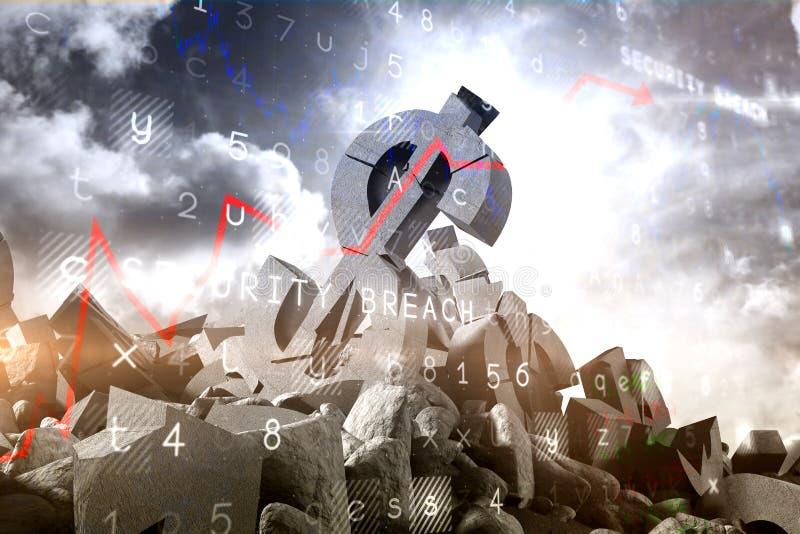 Sammansatt bild av den sammansatta bilden 3d av skadade valutasymboler royaltyfri illustrationer