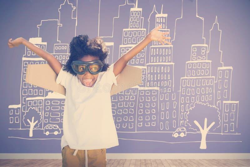 Sammansatt bild av den skämtsamma pojken med flygskyddsglasögon som bort ser royaltyfri illustrationer