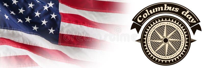 Sammansatt bild av den stora bruna logoen för för händelsecolombus för händelse amerikansk dag royaltyfri illustrationer