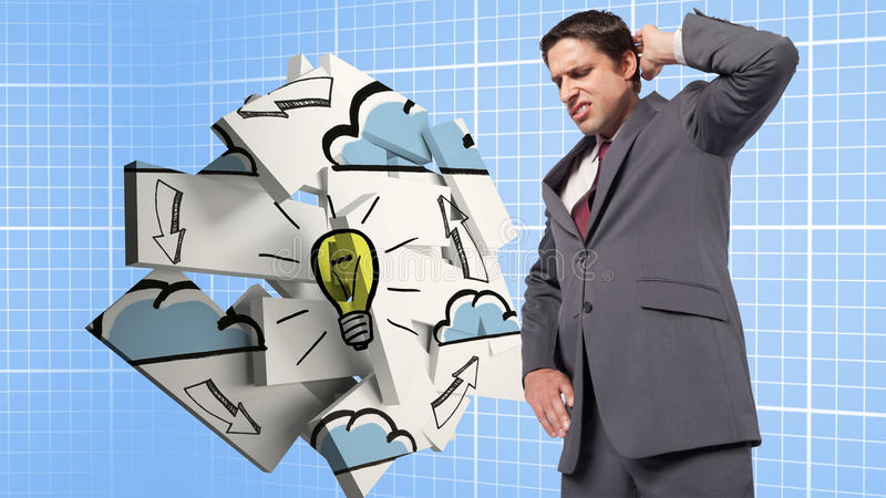 Sammansatt bild av den tänkande affärsmannen som skrapar huvudet royaltyfria foton