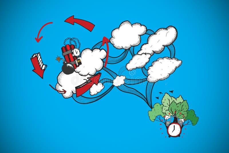 Sammansatt bild av det beräknande klottret för dynamit och för moln stock illustrationer