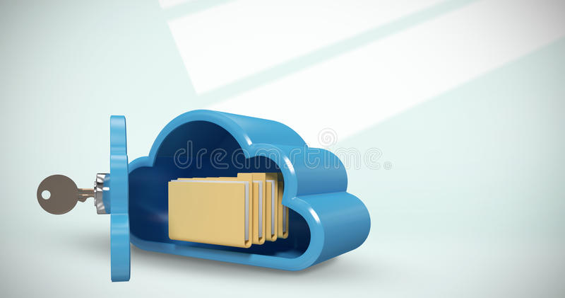 Sammansatt bild av det blåa skåpet i molnform med mappar 3d arkivbild