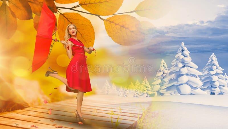 Sammansatt bild av det eleganta blonda hållande paraplyet arkivbilder
