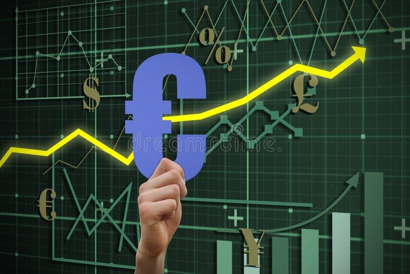 Sammansatt bild av det hållande eurotecknet för hand vektor illustrationer