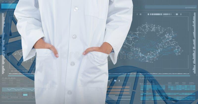 Sammansatt bild av doktorsanseendet med händer i fack mot vit bakgrund fotografering för bildbyråer