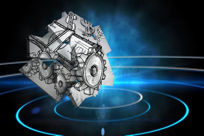 Sammansatt bild av dollarmaskinen på den abstrakta skärmen royaltyfri illustrationer