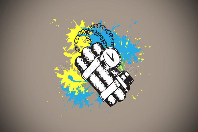 Sammansatt bild av dynamit på målarfärgfärgstänk stock illustrationer
