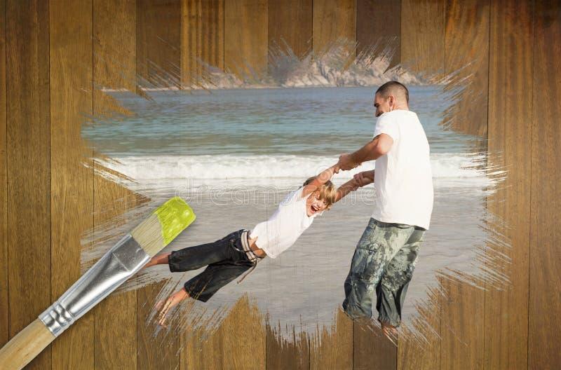 Sammansatt bild av fadern och sonen på stranden royaltyfria bilder