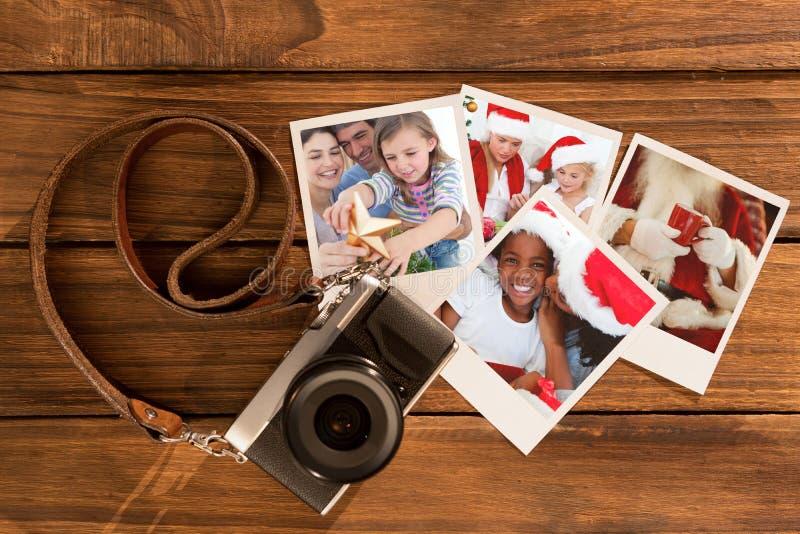 Sammansatt bild av familjjulståenden arkivbilder