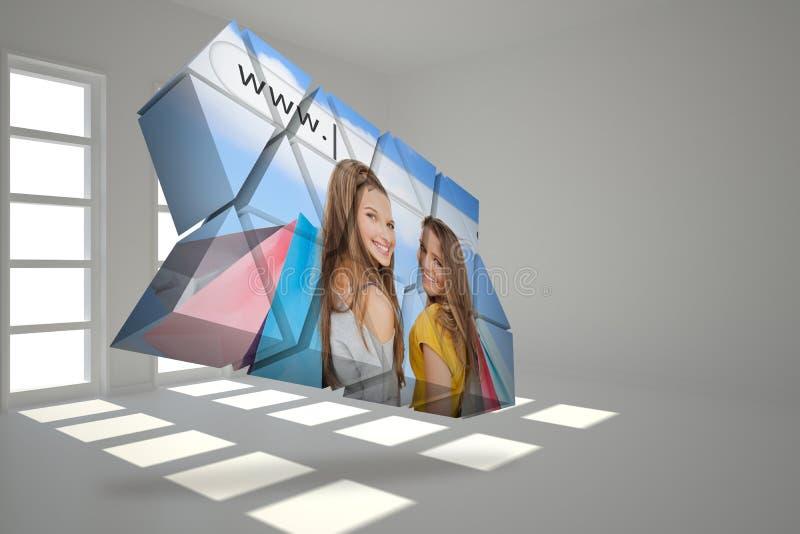 Sammansatt bild av flickor som shoppar på den abstrakta skärmen vektor illustrationer